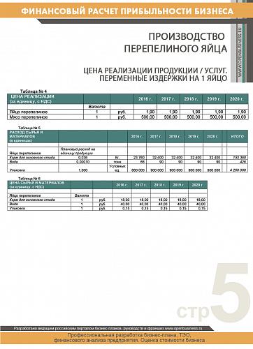 Финансовые расчеты: производство перепелиного яйца