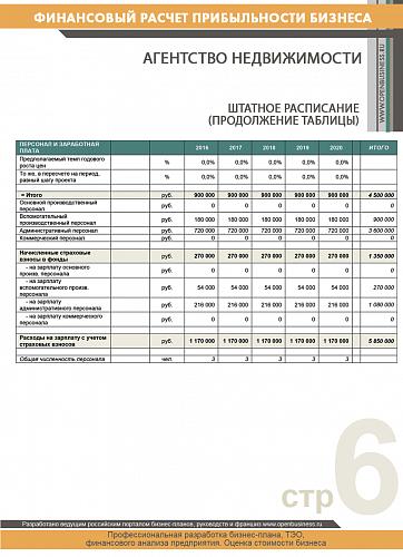 Финансовый расчет: агентство недвижимости